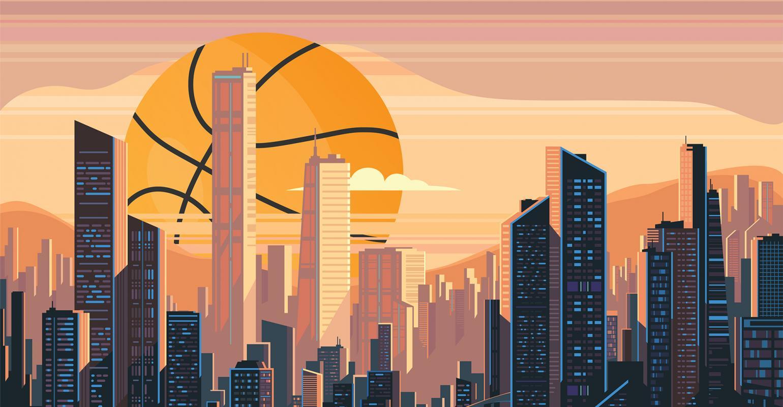 Basketball over cityscape