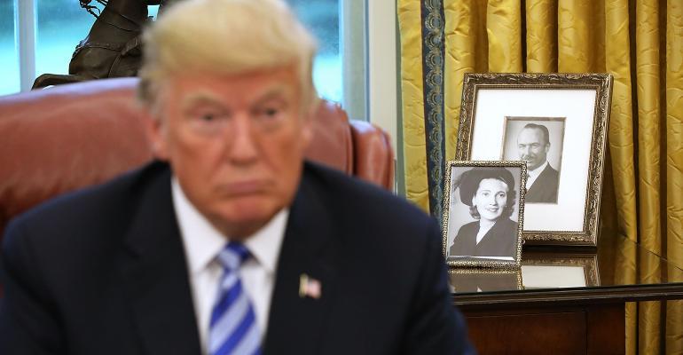 President Donald Trump parents pictures over shoulder