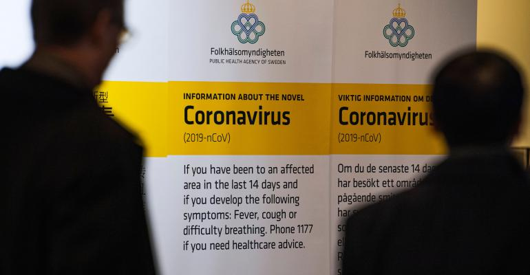 corona virus sign in airport