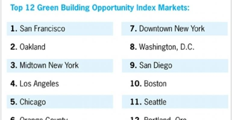New Index Ranks Top 25 U.S. Markets for Green Building Opportunity