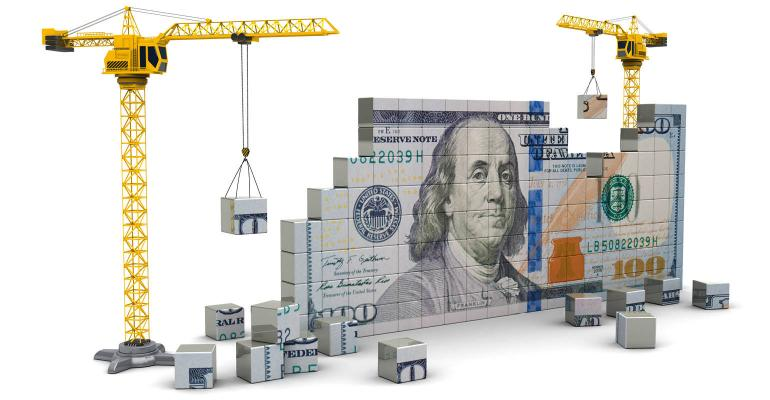construction crane building money