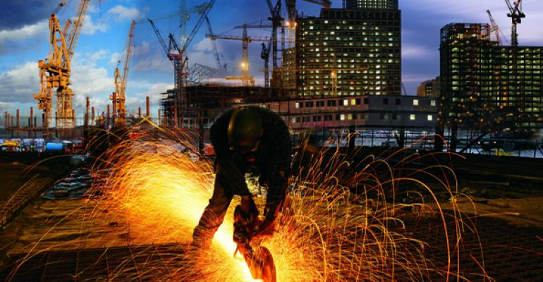 Construction office saw sparks