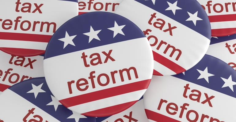 tax reform USA flag buttons