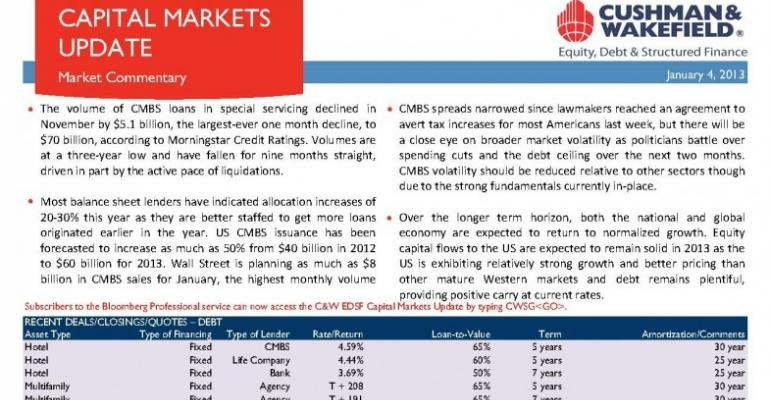 C&W EDSF Capital Markets Update - January 7, 2013