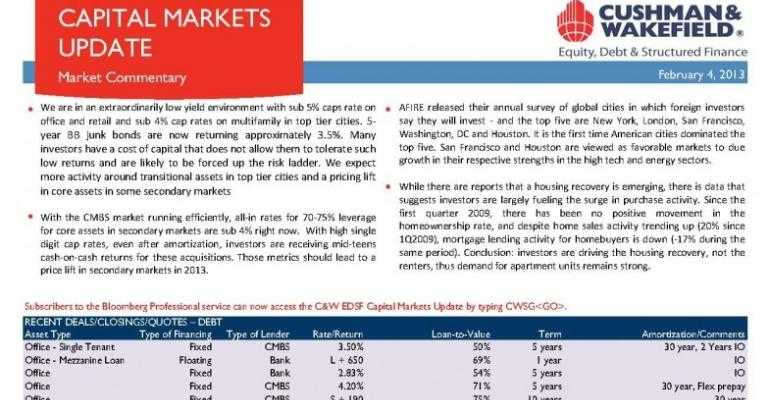 C&W EDSF Capital Markets Update - February 4, 2013